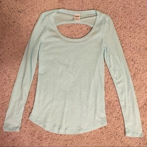 Pink long sleeve sleeve with open back